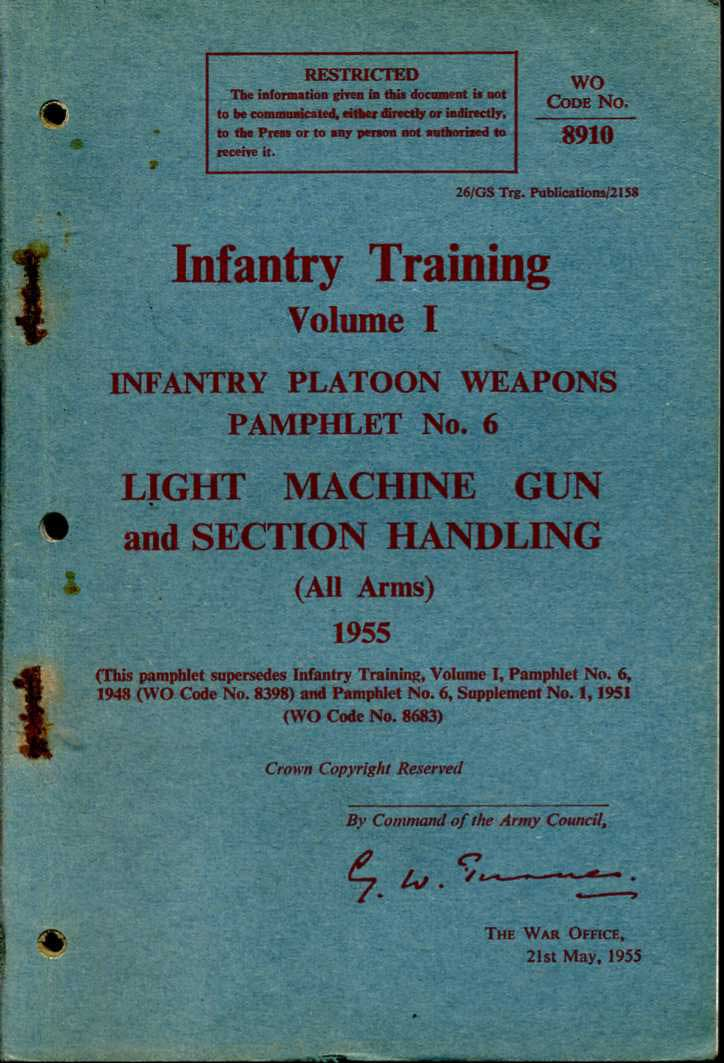 The Light Machine Gun and Section Handling Infantry Training Pamphlet No6 1955