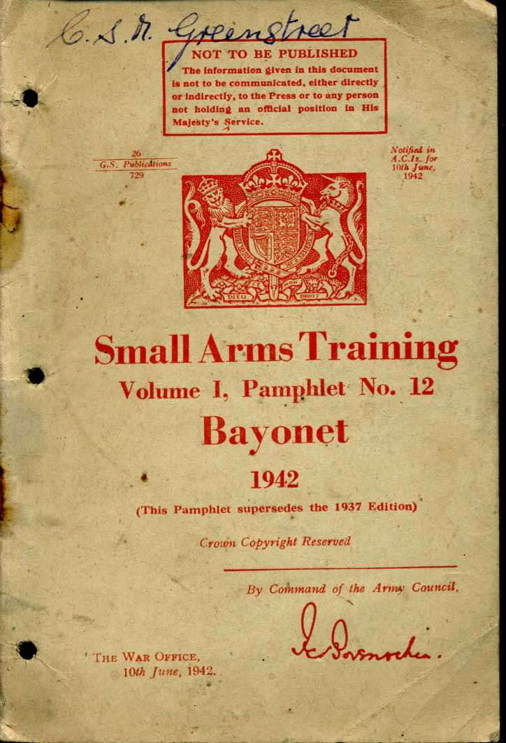 Small Arms Training No12;  Bayonet 1942