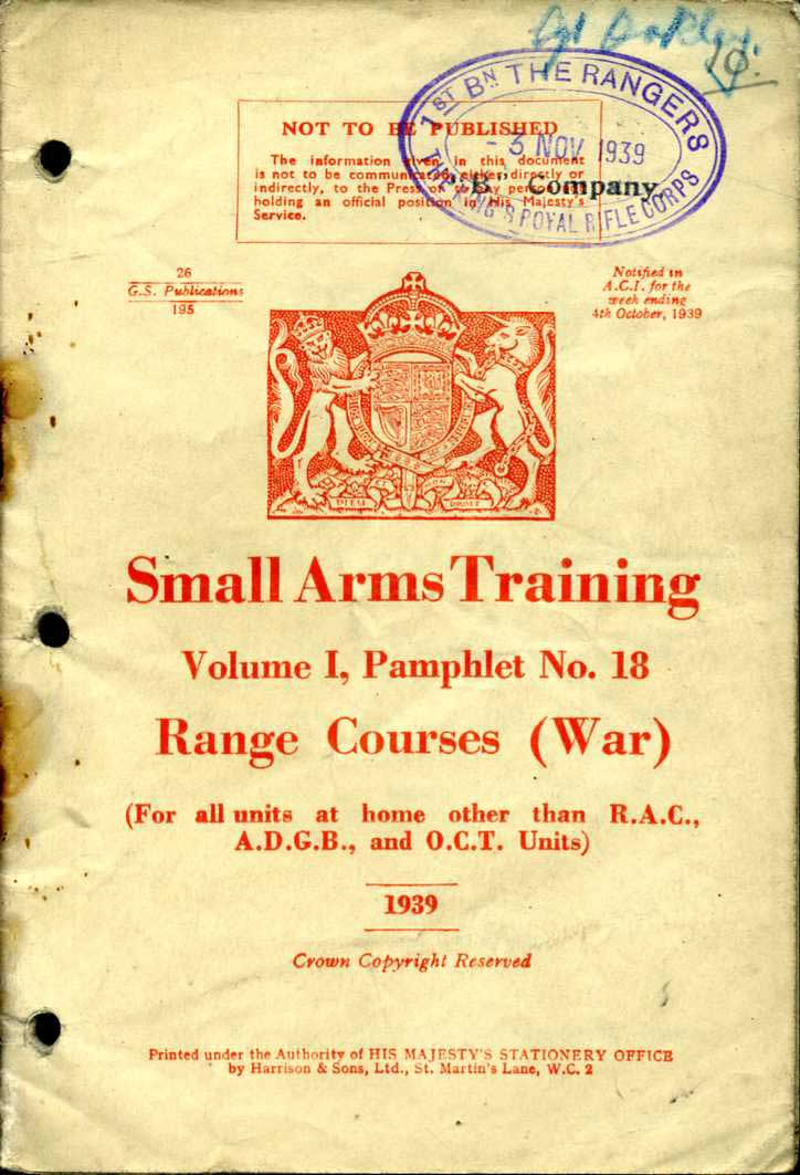 Small Arms Training No18; Range Courses (War) 1939