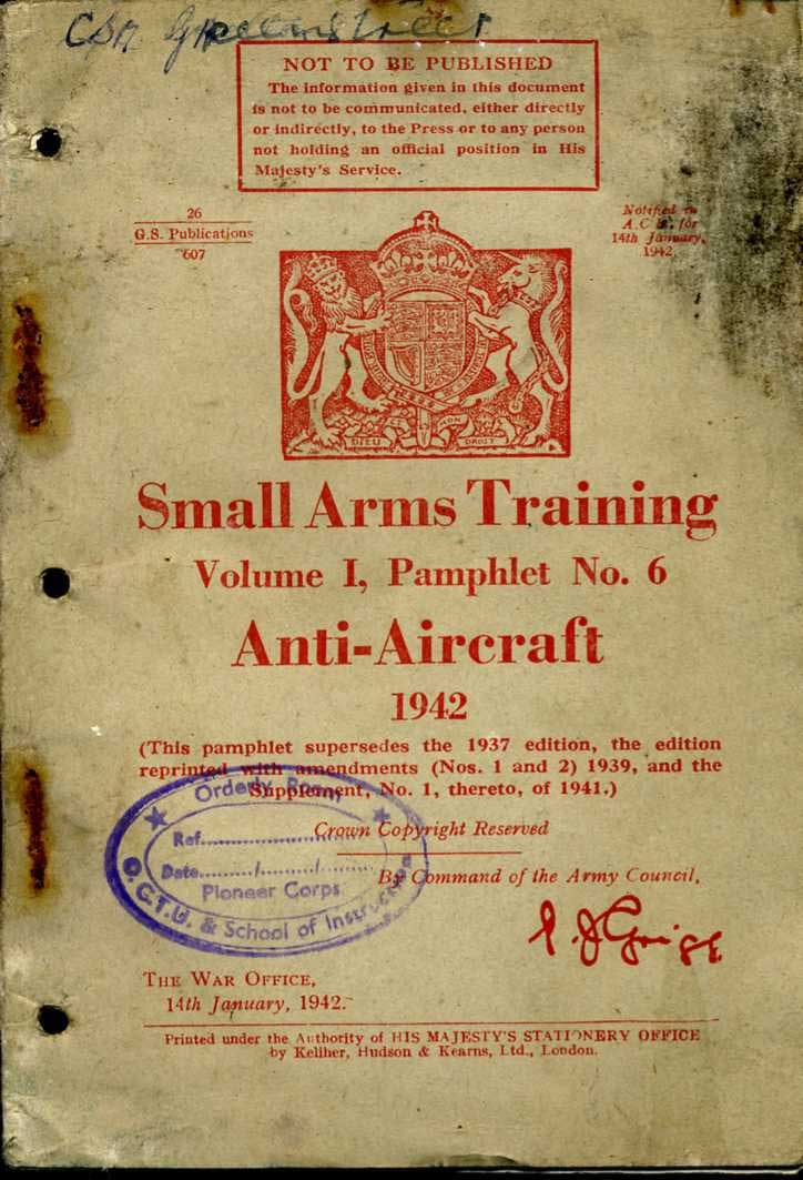 Small Arms Training No6- Anti-Aircraft 1942