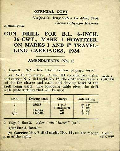 "Amendment No1 for Gun Drill for BL 6"" Howitzer 1934 £3.50"
