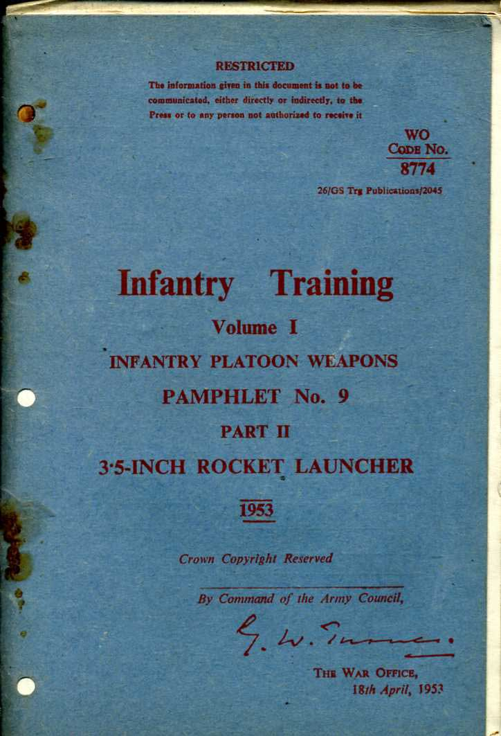 "3.5"" Rocket Launcher Infantry Training Pamphlet No9 Part 11 1953"