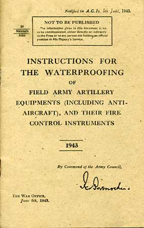 Instructions for waterproofing Field Army Artillery Equipments 193 RARE £9.50