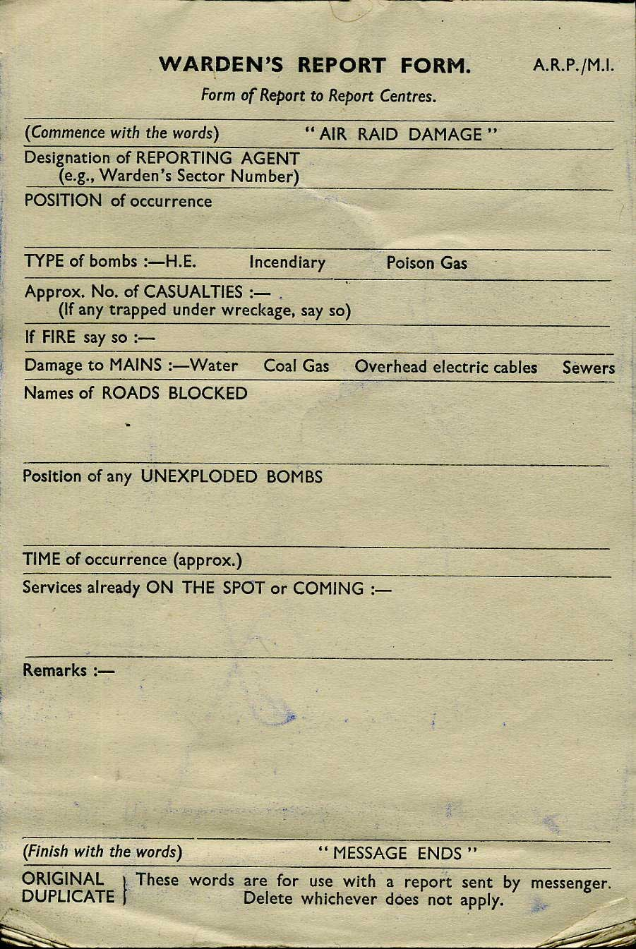 a pad of ARP M1 Wardens Message Form