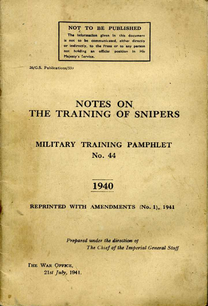 MTP No44 Notes on the Training of Snipers, Very Scarce