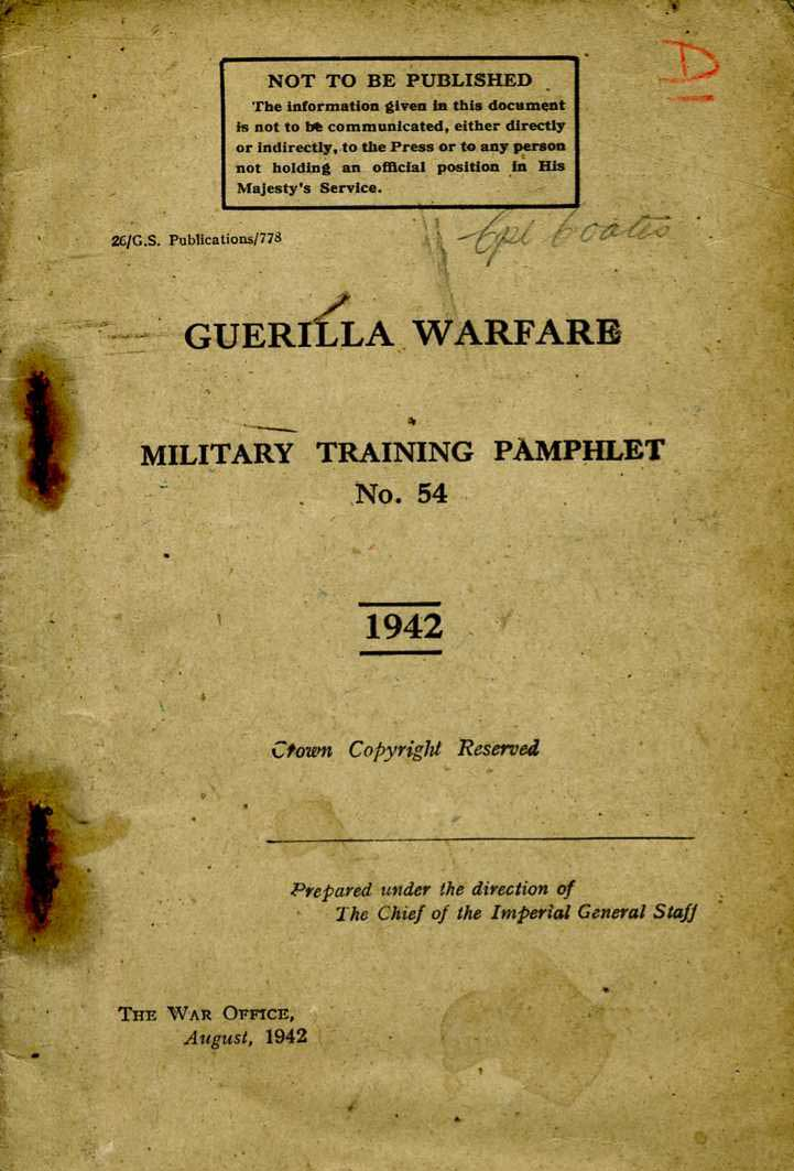 MTP No54 Guerilla Warfare 1942-Scarce manual
