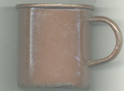 mug, enamel, brown 1945 dated