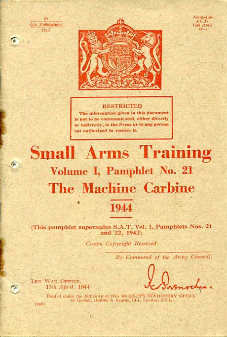 Small Arms Training No21- The Machine Carbine 1944