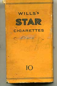 Star (type 2) empty Cigarette packet