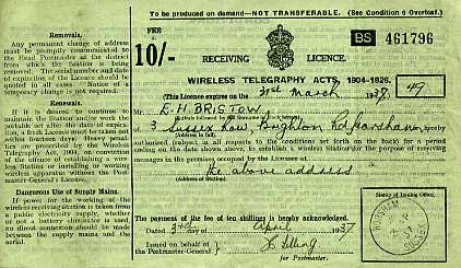 1937 Wireless licence