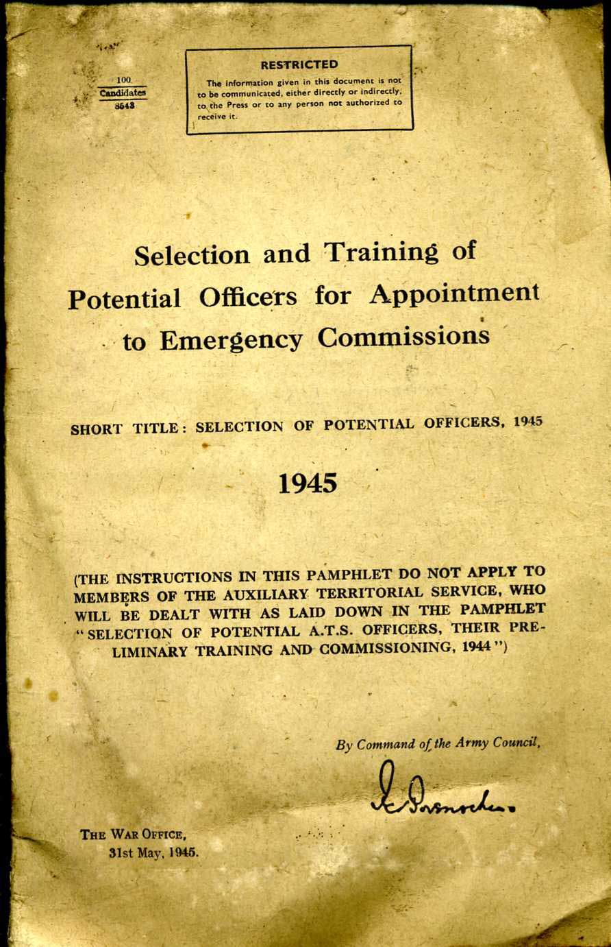 Selection and Training of Potential Officers for Appointment to Emergency Commissions 1945