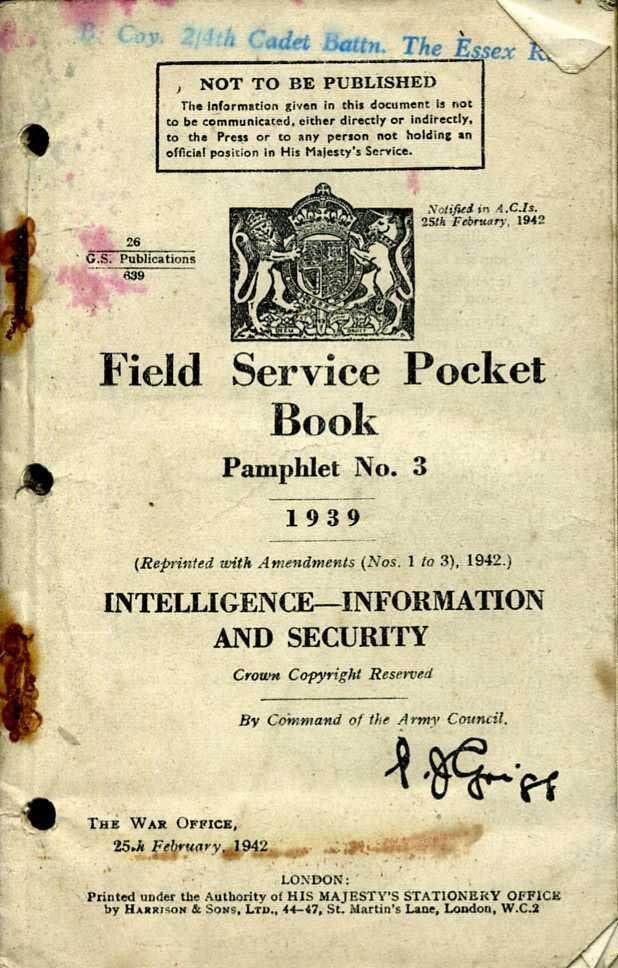 Field Service Pocket Book No3 1939 Intelligence