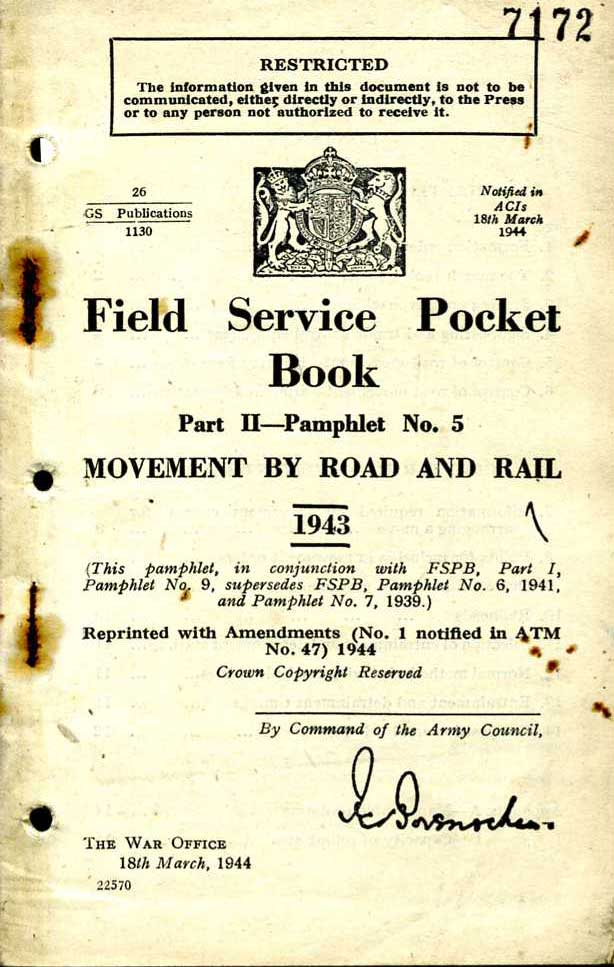 Field Service Pocket Book Volume 2 No5 1943