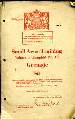 Small Arms Training No13;  Grenade 1942 1946 edition