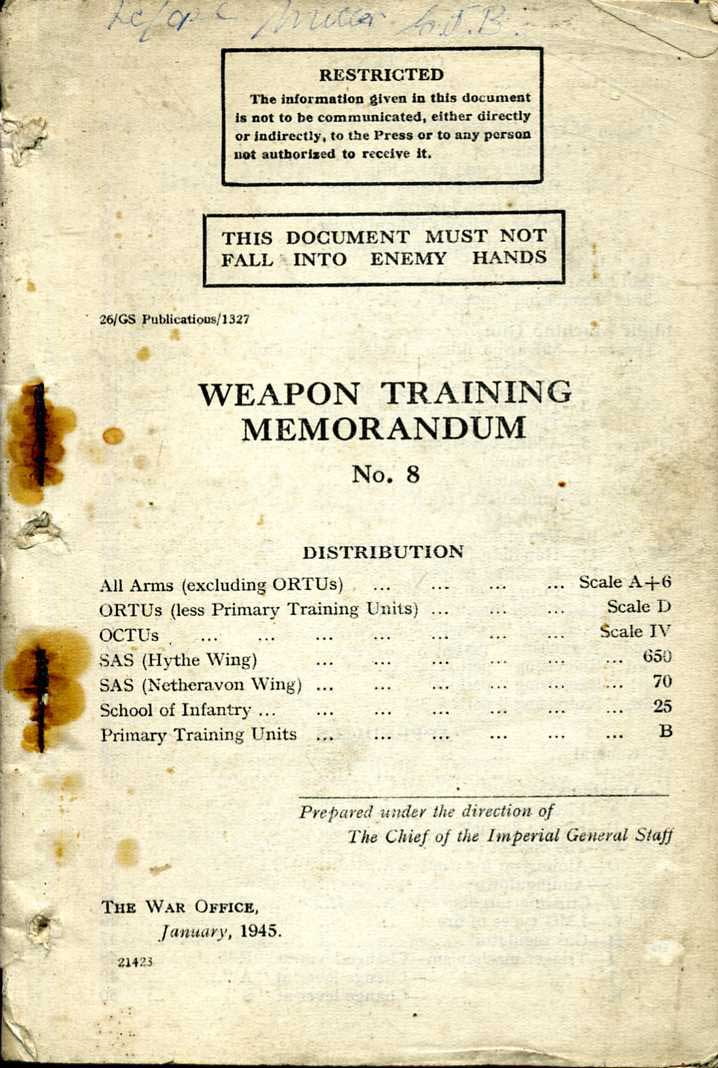 Weapons Training Memorandum No8 1944