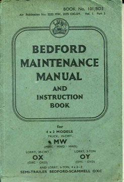 Bedford Maintenence Manual and instruction book 1943