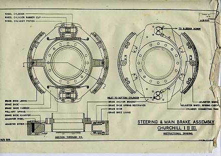 WW2 Drawing of ChurchillTank Steering & Main Brake Assembly