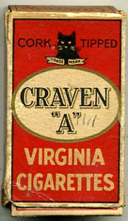 Craven A empty Cigarette packet