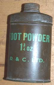 Footpowder tin 2oz or 1&3/4 oz -khaki