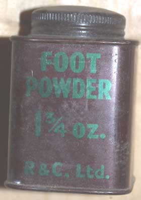 Footpowder tin, small,square