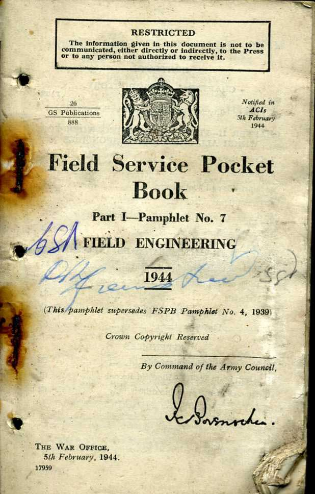 Field Service Pocket Book Volume 1 No7 1944