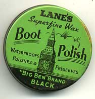 Lanes Shoe Polish, wartime tin