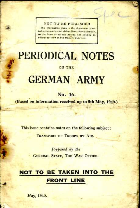Periodical Notes on the German Army No16