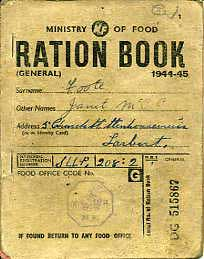 WW2 Food Ration Book