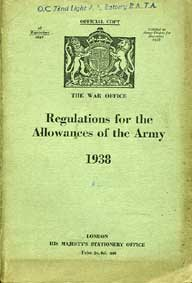 Regulations for the Allowances of the Army 1938 £9.50