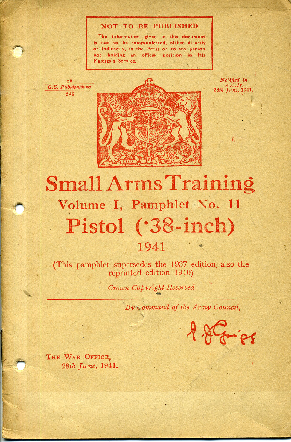 Small Arms Training No11; Pistol (.38-inch) 1941