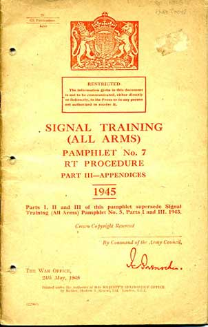 Signals Training (All Arms) No7 Part III 1945 £15