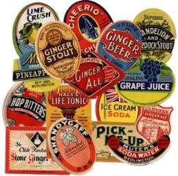 Labels for soft drinks bottles-reproduction